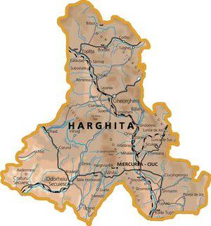 Harta judetului Harghita