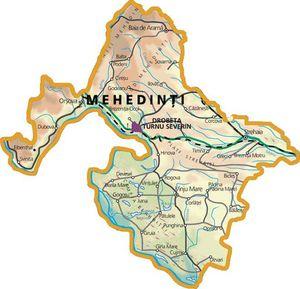 Harta judetului Mehedinți