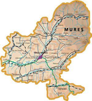 Harta judetului Mureș