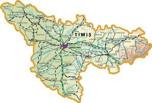 Harta judetului Timiș