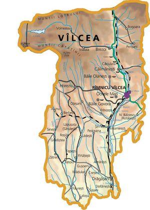 Harta judetului Vâlcea
