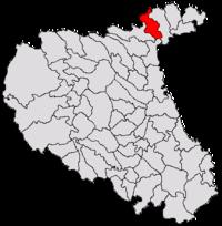 Pozitia orasului Adjud in cadrul judetului Vrancea