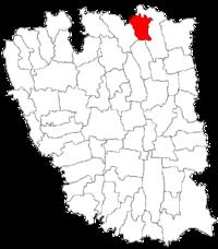 Pozitia orasului Berești in cadrul judetului Galați