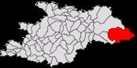 Pozitia orasului Borșa in cadrul judetului Maramureș
