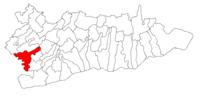 Pozitia orasului Budești in cadrul judetului Călărași