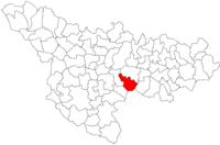 Pozitia orasului Buziaș in cadrul judetului Timiș