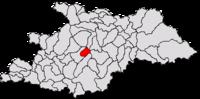 Pozitia orasului Cavnic in cadrul judetului Maramureș
