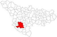 Pozitia orasului Ciacova in cadrul judetului Timiș