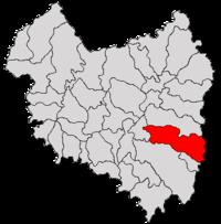 Pozitia orasului Covasna in cadrul judetului Covasna