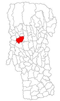 Pozitia orasului Curtea de Argeș in cadrul judetului Argeș