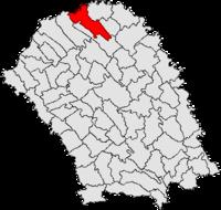 Pozitia orasului Darabani in cadrul judetului Botoșani