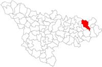 Pozitia orasului Făget in cadrul judetului Timiș