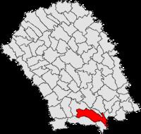 Pozitia orasului Flămânzi in cadrul judetului Botoșani