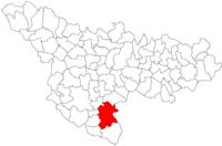 Pozitia orasului Gătaia in cadrul judetului Timiș