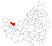 Pozitia orasului Huedin in cadrul judetului Cluj