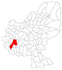 Pozitia orasului Iernut in cadrul judetului Mureș