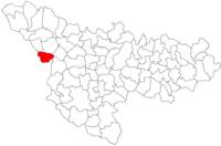 Pozitia orasului Jimbolia in cadrul judetului Timiș
