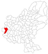 Pozitia orasului Luduș in cadrul judetului Mureș