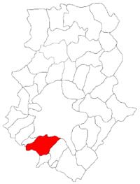 Pozitia orasului Măgurele in cadrul judetului Ilfov