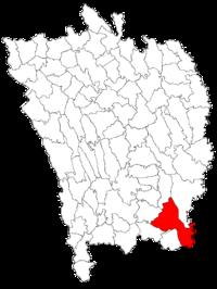 Pozitia orasului Murgeni in cadrul judetului Vaslui