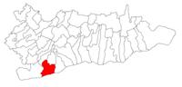 Pozitia orasului Oltenița in cadrul judetului Călărași