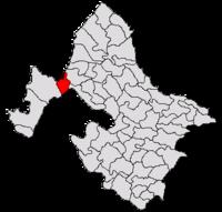 Pozitia orasului Orșova in cadrul judetului Mehedinți