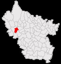Pozitia orasului Pătârlagele in cadrul judetului Buzău