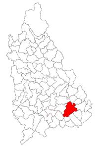 Pozitia orasului Răcari in cadrul judetului Dâmbovița