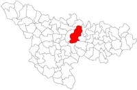 Pozitia orasului Recaș in cadrul judetului Timiș