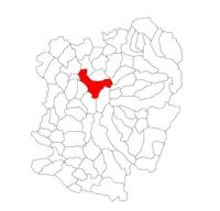 Pozitia orasului Reșița in cadrul judetului Caraș-Severin
