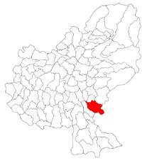 Pozitia orasului Sângeorgiu de Pădure in cadrul judetului Mureș