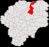 Pozitia orasului Sângeorz-Băi in cadrul judetului Bistrița-Năsăud