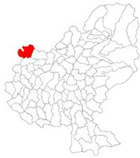 Pozitia orasului Sărmașu in cadrul judetului Mureș