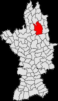 Pozitia orasului Scornicești in cadrul judetului Olt