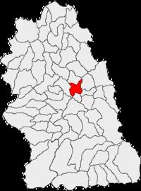 Pozitia orasului Simeria in cadrul judetului Hunedoara