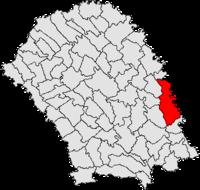 Pozitia orasului Ștefănești, Botoșani in cadrul judetului Botoșani