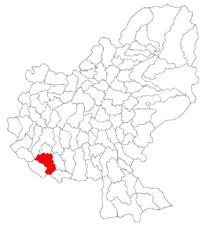 Pozitia orasului Târnăveni in cadrul judetului Mureș