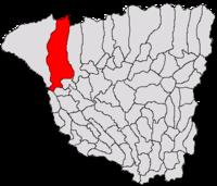 Pozitia orasului Tismana in cadrul judetului Gorj