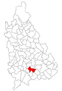 Pozitia orasului Titu in cadrul judetului Dâmbovița