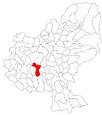 Pozitia orasului Ungheni in cadrul judetului Mureș