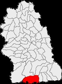 Pozitia orasului Uricani in cadrul judetului Hunedoara
