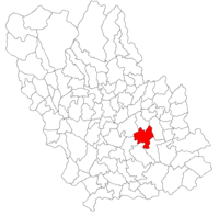 Pozitia orasului Urlați in cadrul judetului Prahova