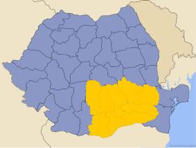 Harta regiunii Muntenia