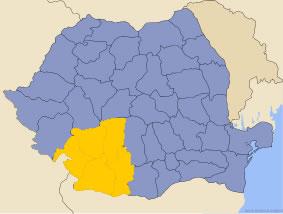 Harta regiunii Oltenia